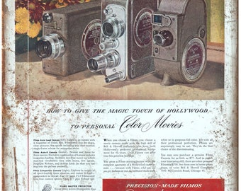 """1948 Bell and Howell Movie Camera Ad 10"""" x 7"""" Retro Look Metal Sign"""