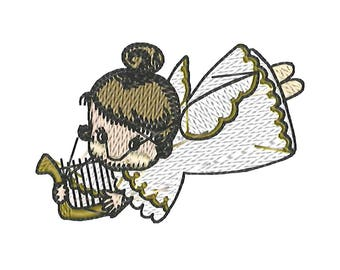Patch flying Angel with Harp patches sticker 7 x 4.5 cm