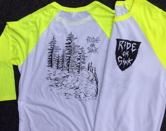 Ride Or Sink Alpine Jumps design, 3/4 sleeve