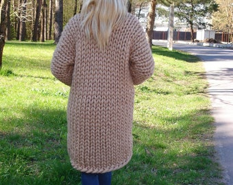 Chunky Wool Cardigan, Super thick cardigan, Arm knit sweater, Thick sweater, Merino wool cardigan, Chunky wool coat, Chunky wool sweater,