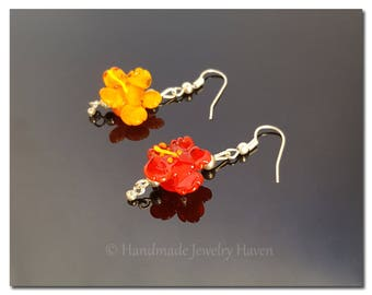 Hibiscus Earrings, Lampwork Earrings, Flower Earrings, Surfer Earrings, Floral Jewelry, Spring Jewelry, Handmade Jewelry, Mothers Day Gift