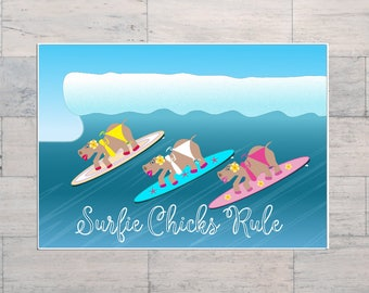 Surfie Chicks Rule, Hippos, Surf Art, Beach Art, Cartoon Art, Ocean Art, Printable, Instant Download, Digital Download, Digital Art,