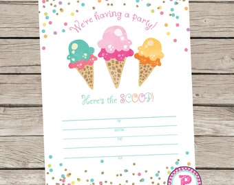Here's the Scoop Ice Cream Fill In the Blank style Birthday Party Invitation Instant Download Summer time Ice Cream Party Cone 5x7