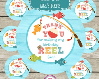 INSTANT 3.5 inch Tags Gone Fishing Circle Stickers Party Label Favor Tag Treat Bags Fisherman Big one Thank you for making my party Reel Fun
