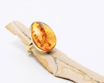 Honey Amber Ring, Gold Silver
