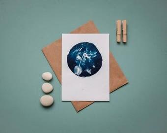 """Original Cyanotypie """"Vogelfedern"""" in Kreisform auf Karteikartenpapier im Format DIN A6"""