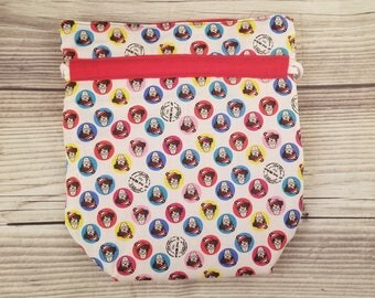 Where's Waldo Knitting Project Bag, Small Sock bag, project bag, small bag, drawstring bag, storage bag