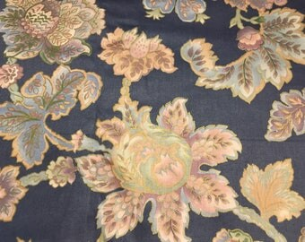 Vintage - 1990 pastel pink, lavender, and blue gold metallic outline floral on blue from Interior Fabric Designs