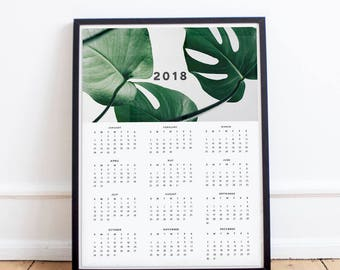 2018 Wall Calendar|Large Wall Planner Poster|Yearly Calendar|Botanical Photography|Minimalist|Plant Decor|11x14|18x24|20x24|Christmas Gift