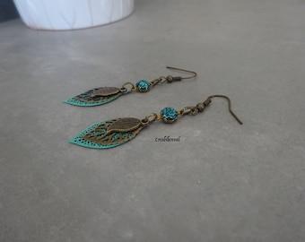 Earrings, bronze, leaf, turquoise, rhinestone connector, Bohemian, ethnic, unique jewelry