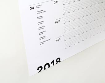 Print Prologue 2018 Wall Planner