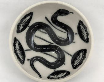 Ceramic Ring Dish - Snake and Flowers
