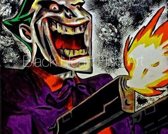 The Joker Original Oil Painting Print 8x10 Batman