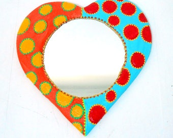 """Heart with dots Bi"" mirrors 33 X 33 cm"