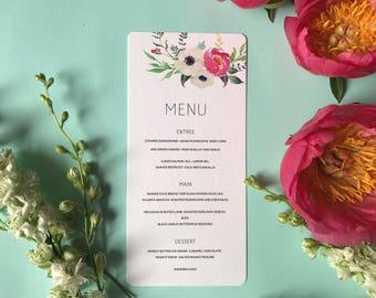 Printable Wedding Menu - Pink Floral Menu Card - Spring Blooms - PDF Download