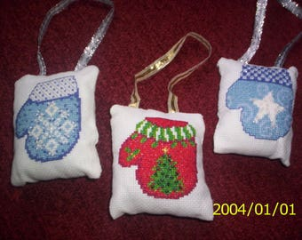 Trio door or tree cushions embroidered pearls theme mittens Christmas on canvas aida