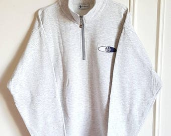 Sweatshirt Half Zip Sergio Tacchini Vintage 90s Made in Europe size M.
