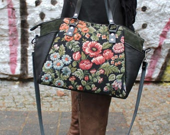 Handbag, leather, vintage style, furniture fabric, Upcycling