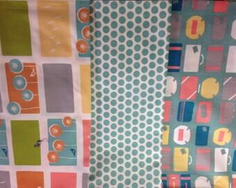 LOT 3 coupons fabric patchwork 100% cotton organic Birch Fabrics MONALUNA