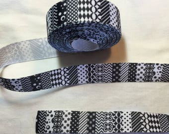GROS GRAIN Ribbon various black and white patterns 22 mm
