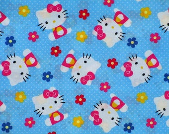patchwork fabric white cat kids hello kitty Tossed with flowers