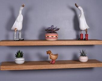Chunky Solid Oak Floating Shelves - Various Length Shelves - Brackets Included - 25cm Deep