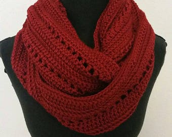 Red infinity scarf, red scarf, handmade crocheted item