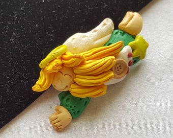 Vintage Clay Angel with Halo Brooch - Pin