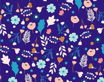 Cotton Dress Material, Purple Fabric, Floral Print, Stretchy Velvet Fabric, Decorative Fabric, Crafting, Fabric By The Yard, MIN-FL24C
