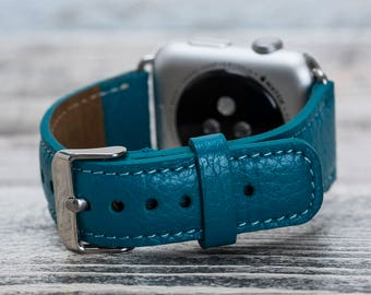Turquoise leather Apple watch band, 42mm, 38mm, Leather watch band, Apple watch strap, iwatch band, Apple watch leather band, iwatch strap