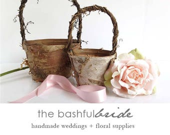 2 sizes, bohemian wedding, rustic flower girl basket, bohemian wedding decor, flower girl basket birch, farmhouse chic, barn wedding,
