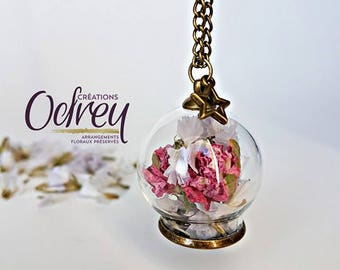 CLEARANCE, terrarium, botanical pendant necklace, necklace real flower Globe glass Decoration for rear view mirror, lucky charm