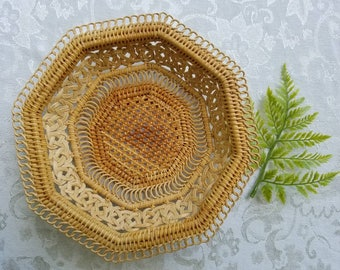 Vintage woven wicker basket, wall basket