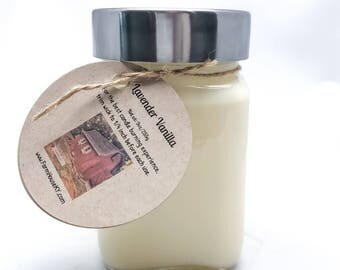 Lavender Vanilla Soy Candles Handmade 9oz, Scented Candles, Homemade Candle, Vanilla Candle, Lavender Candle