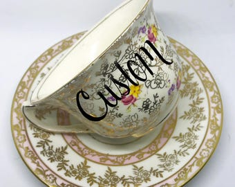 FREE SHIPPING - Cheeky China, CUSTOM!! Gold and Pink Patterned Floral Tea Cup & Saucer