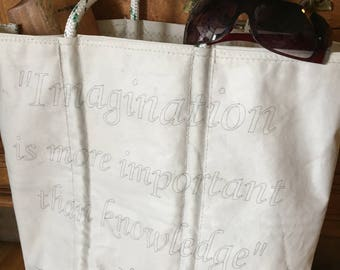 Albert Einstein Quote Sail Bag Tote, Imagination is more important - Reusable Grocery bag - Beach Bag - made with Recycled Sailboat Sails -