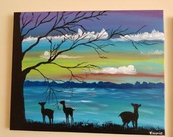 16x20  lake sunset painting