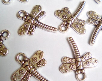 10 charms 17x15mm silver dragonflies