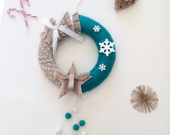 Door wreath green tree - snow flakes
