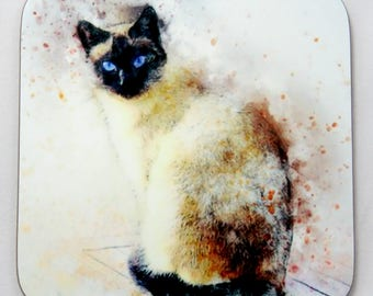 Siamese Cat Coaster, Drinks Coaster, Siamese Cat Lovers Gift.