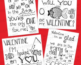 Set of 4 Printable Valentine Day Coloring Cards