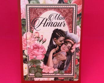 Romantic vintage style valentines card - handmade romantic card for Valentine's Day - pink and red roses on this valentine love card