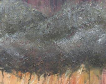 Cloud #3, Acrylic, Painting, Art, Abstract, Modern, Purple, Yellow, Grey