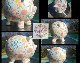 Piggy Bank, Ceramic Piggy Bank, Custom Piggy Bank, Money Bank, Personalized Piggy Bank, Kid's Piggy Bank, Piggy Bank Gift