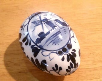 Delft Blue Egg Trinket Dish Vintage Collectible Gift Holland