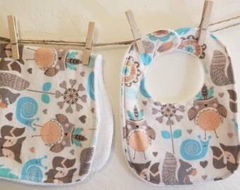 Flannel baby bib and burp cloth set