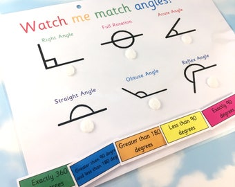 Angles learning sheet, KS2, Matching game, maths aid, year 4, Visual learner, removable pieces, velcro matching, homework resource