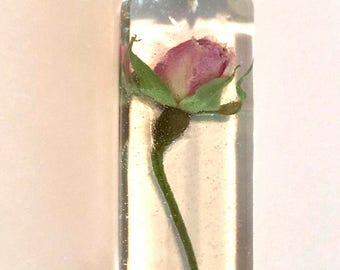 Miniature Pink Rose Pendant, resin jewelry, real rose jewelry, dried flower jewelry, botanical jewelry, sterling silver jewelry, single rose