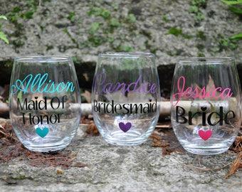 Bridesmaid gift / Bridesmaid Wine Glasses / Bachelorette Party Glasses / Wedding Favors / Bridesmaids Gift