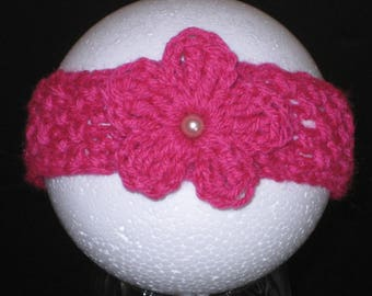 Newborn Flower Headband, Newborn Pink Headband, Baby Headband, Infant headband, Photo Prop Headband